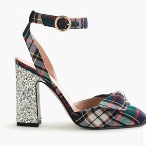 J. Crew Harlow ankle-strap pumps in festive plaid